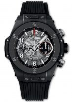 Мужские часы Hublot Big Bang 441_CI_1170_RX хронограф с датой в черной керамике, на скелетированном матовом сером циферблате часовые маркеры и стрелки покрытые люминесцентом, черный каучук.