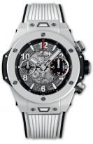 Мужские часы Hublot Big Bang 411_HX_1170_RX хронограф с датой в белом керамическом корпусе, на скелетированном матовом сером циферблате часовые маркеры и стрелки покрытые люминесцентом, белый каучук.