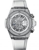 Женские наручные часы Hublot Big Bang-441.NE.2010.RW.1104 хронограф с датой в титановом корпусе, на скелетированном матовом светлом циферблате часовые маркеры и стрелки покрытые люминесцентом, белый каучук.