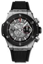 Мужские наручные часы Hublot Big Bang-441.NM.1170.RX с хронографом в керамическом корпусе, на скелетированном матовом циферблате часовые маркеры и стрелки покрытые люминесцентом, черный каучук