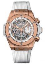 Мужские/женские часы Hublot Big Bang 441_OE_2010_RW хронограф с датой в розовом золоте, на скелетированном матовом светлом циферблате золотые часовые маркеры и стрелки покрытые люминесцентом, белый каучук.