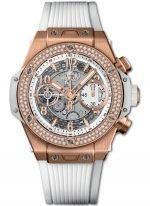 Женские наручные часы Hublot Big Bang-441.OE.2010.RW.1104 хронограф с датой в розовом золоте с бриллиантовым рантом, на скелетированном матовом светлом циферблате золотые часовые маркеры и стрелки покрытые люминесцентом, белый каучук.