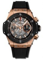Мужские наручные часы Hublot Big Bang-441.OM.1180.RX хронограф с датой в розовом золоте, на скелетированном матовом черном циферблате часовые маркеры и стрелки покрытые люминесцентом, черный каучук.