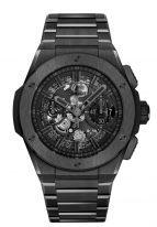 Мужские часы Hublot Big Bang 451_CX_1140_CX хронограф с датой в керамическом корпусе, на скелетированном матовом черном циферблате родиевые часовые метки и стрелки покрытые люминесцентом, керамический браслет.