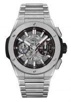 Мужские часы Hublot Big Bang 451_NX_1170_NX хронограф с датой в титановом корпусе, на скелетированном матовом черном циферблате родиевые часовые метки и стрелки покрытые люминесцентом, титановый браслет.