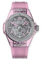 Женские наручные часы Hublot Big Bang-465.JP.4802.RT.1204 корпус из полированного розового сапфирового стекла с бриллиантовым рантом, на циферблате из сапфирового стекла часовые метки, цифры и стрелки с люминесцентным составом, каучук.