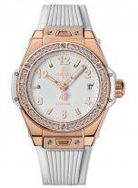 Женские наручные часы Hublot Big Bang-465.OE.2080.RW.1204 с датой в розовом золоте с бриллиантовым рантом, на белом матовом циферблате накладные часовые метки и широкие стрелки с люминесцентным составом, белый каучук.