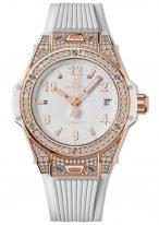 Женские наручные часы Hublot Big Bang-465.OE.2080.RW.1604 с датой в розовом золоте с бриллиантовым рантом, на белом матовом циферблате накладные часовые метки и широкие стрелки с люминесцентным составом, белый каучук.