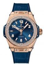 Женские наручные часы Hublot Big Bang-465.OX.7180.LR.1204 с датой в розовом золоте с бриллиантовым рантом, на синем сатинированном циферблате с узором накладные часовые метки и широкие стрелки с люминесцентным составом, синяя кожа кроко.