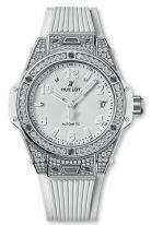 Женские наручные часы Hublot Big Bang-465.SE.2010.RW.1604 с датой в стальном корпусе с бриллиантовым рантом, на белом матовом циферблате накладные часовые метки и широкие стрелки с люминесцентным составом, белый каучук.