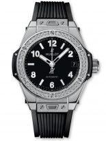 Женские наручные часы Hublot Big Bang-465.SX.1170.RX.1204 с датой в стальном корпусе с бриллиантовым рантом, на черном матовом циферблате накладные часовые метки и широкие стрелки с люминесцентным составом, черный каучук.