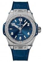 Женские наручные часы Hublot Big Bang-465.SX.7170.LR.1204 с датой в стальном корпусе с бриллиантовым рантом, на синем сатинированном циферблате накладные часовые метки и широкие стрелки с люминесцентным составом, синяя кроко.
