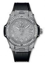 Женские наручные часы Hublot Big Bang-465.SX.9010.RX.1604 с датой в стальном корпусе с бриллиантовым рантом, на бриллиантовом циферблате накладные часовые метки и широкие стрелки с люминесцентным составом, белый каучук.