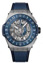Мужские наручные часы Hublot Big Bang-471.NL.7112.RX со временем второго часового пояса в титановом корпусе, на матовом антрацидном скелетированном циферблате люминесцентные голубые и белые часовые маркеры и стрелки, синий каучук.
