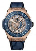Мужские наручные часы Hublot Big Bang-471.OL.7128.RX со временем второго часового пояса в розовом золоте, на скелетированном циферблате люминесцентные голубые и белые часовые маркеры и стрелки, синий каучук.