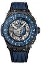 Мужские наручные часы Hublot Big Bang 471_QL_7127_RX со временем второго часового пояса в карбоновом корпусе, на скелетированном циферблате люминесцентные голубые и белые часовые маркеры и стрелки, синий каучук.