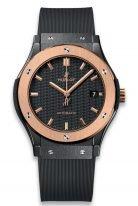 Мужские наручные часы Hublot Classic Fusion-511.CO.1781.RX с датой в керамическом корпусе с рантом из розового золота, на матовом циферблате из углеволокна золотые часовые метки и стрелки, черный каучук.