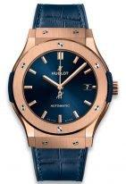 Мужские часы Hublot Classic Fusion 511_OX_7180_LR с датой в розовом золоте, на синем циферблате с лучистой отделкой золотые часовые метки и стрелки, синий ремешок кроко.