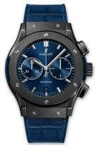 Мужские часы Hublot Classic Fusion 521_CM_7170_LR с хронографом и датой в керамическом корпусе, на синем лучистом циферблате сатинированные часовые меткис родиевым покрытием и сатинированные стрелки, синяя кроко.