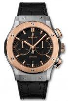 Мужские часы Hublot Classic Fusion 521_NO_1181_LR хронограф с датой в биколорном корпусе (розовое золото/титан), на черном матовом циферблате сатинированные часовые меткии сатинированные золотые стрелки, кожа.