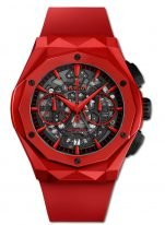 Мужские/женские наручные часы Hublot Classic Fusion-525.CF.0130.RX.ORL19 лимитированный хронограф в красном керамическом корпусе, на скелетированном темном циферблате красные элементы часовых маркеров, стрелок и счетчиков хронографа, красный каучук.