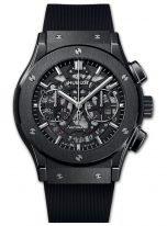 Мужские наручные часы Hublot Classic Fusion-525.CM.0170.RX с хронографом и датой в керамическом корпусе, на скелетированном циферблате часовые меткис родиевым покрытием и сатинированные стрелки, черный каучук.