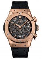 Мужские наручные часы Hublot Classic Fusion-525.OX.0180.LR с хронографом и датой в розовом золоте, на скелетированном циферблате часовые меткис золотым покрытием и сатинированные стрелки, черная кожа кроко.