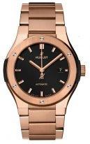 Мужские часы Hublot Classic Fusion 548_OX_1180_OX в розовом золоте, черный матовый циферблат с золотыми метками, золотой браслет