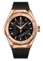 Мужские/женские часы Hublot Classic Fusion 550_OS_1800_RX_ORL19 в розовом золоте, на граненомтемном циферблате золотые часовые метки и стрелки, черный каучуковый ремешок