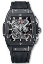 Мужские наручные часы в форме бочонка Hublot Spirit Of Big Bang-601.CI.0173.RX с хронографом и датой в керамическом корпусе, на скелетированном сером циферблате родиевые часовые метки и стрелки покрытые люминесцентом, черный каучук.
