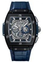 Мужские наручные часы в форме бочонка Hublot Spirit Of Big Bang-601.CI.7170.LR с хронографом и датой в керамическом корпусе, на скелетированном сером циферблате родиевые часовые метки и стрелки покрытые люминесцентом, синяя кожа кроко.
