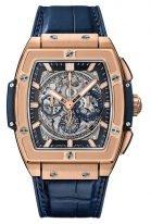 Мужские наручные часы в форме бочонка Hublot Spirit Of Big Bang-601.OX.7180.LR с хронографом в розовом золоте, на скелетированном сером циферблате золотые часовые метки и стрелки покрытые люминесцентом, синяя кожа кроко.