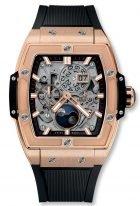 Мужские наручные часы в форме бочонка Hublot Spirit Of Big Bang-647.OX.1138.RX с фазами Луны в розовом золоте, на скелетированном сером циферблате родиевые часовые метки и стрелки покрытые люминесцентом, черный каучук.