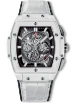Мужские наручные часы в форме бочонка Hublot Spirit Of Big Bang-601.HX.0173.LR с хронографом и датой в керамическом корпусе, на скелетированном сером циферблате родиевые часовые метки и стрелки покрытые люминесцентом, белый кроко ремешок.