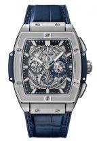 Мужские наручные часы в форме бочонка Hublot Spirit Of Big Bang-601.NX.7170.LR с хронографом в титановом корпусе, на скелетированном сером циферблате родиевые часовые метки и стрелки покрытые люминесцентом, синяя кожа кроко.