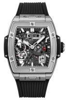 Мужские спортивные часы Hublot Spirit Of Big Bang 614_NX_1170_RX с запасом хода в титановом корпусе, на скелетированном темном циферблате люминесцентные часовые метки и стрелки, черный каучук.