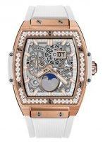 Женские часы Hublot Spirit of Big Bang 647_OE_2080_RW_1204 с фазами Луны в розовом золоте с бриллиантами, на скелетированном циферблате часовые метки и стрелки покрытые люминесцентом, белый каучук.