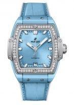 Женские часы Hublot Spirit of Big Bang 665_EN_891L_LR_1204 керамический корпус, на скелетированном циферблате часовые метки и стрелки покрытые люминесцентом, голубая кроко.