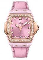 Женские часы Hublot Spirit of Big Bang 665_RO_891P_LR_1204 в розовом золоте с бриллиантами, на розовом циферблате часовые метки и стрелки покрытые люминесцентом, розовый кроко.
