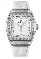 Женские спортивные часы Hublot Spirit Of Big Bang 665_NE_2010_RW_1204 с датой в титановом корпусе с бриллиантовым рантом, на белом матовом циферблате часовые метки и стрелки покрытые люминесцентом, белый каучук.