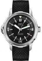 Мужские спортивные наручные часы IWC Aquatimer-IW329001 с датой в стальном корпусе, на черном циферблате часовые метки и широкие стрелки, покрытые люминесцентным составом, каучуковый черный ремешок.