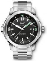 Мужские спортивные часы IWC Aquatimer IW329002 с датой в стальном корпусе, на черном циферблате часовые метки и широкие стрелки, покрытые люминесцентным составом, стальной браслет.