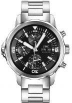 Мужские спортивные часы IWC Aquatimer IW376804 хронограф с датой и днем недели в стальном корпусе, на черном циферблате счетчики хронографа, часовые метки и широкие стрелки, стальной браслет.