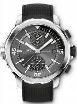 Мужские спортивные наручные часы IWC Aquatimer-IW379506 с хронографом и датой в стальном корпусе, на грифельно-сером циферблате с жемчужным зернением счетчики хронографа, часовые метки и широкие стрелки, покрытые люминесцентным составом, черный каучук.