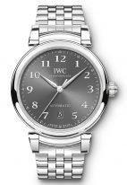 Мужские/женские наручные часы IWC Da Vinci-IW356602 с датой в стальном корпусе, на грифельно-сером циферблате арабские цифры и стрелки покрытые родием, стальной браслет.