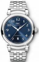 Мужские/женские часы IWC Da Vinci-IW356605 с датой в стальном корпусе, на синем циферблате арабские цифры и стрелки покрытые родием, стальной браслет.
