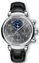 Мужские наручные часы IWC Da Vinci-IW392103 с вечным календарем, хронографом и фазами Луны в стальном корпусе, на грифельно-сером с жемчужным зернением циферблате счетчики хронографа, крупные арабские цифры и стрелки с родием, черная кроко.