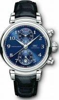 Мужские наручные часы IWC Da Vinci IW393402 хронограф в стальном корпусе, на синем гильошированном циферблате счетчики хронографа, крупные арабские цифры и стрелки покрытые родием, черный ремешок кроко.