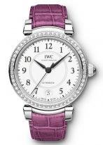 Женские наручные часы IWC Da Vinci IW458308 с датой в стальном корпусе с бриллиантовым рантом, на белоснежном циферблате черные арабские цифры и и стрелки, малиновый ремешок кроко.