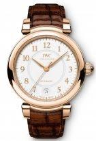Женские наручные часы IWC Da Vinci IW458309 с датой в розовом золоте, на белоснежном циферблате золотые арабские цифры и и стрелки, темно-коричневый ремешок кроко